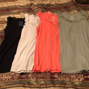 Set of four lace-trimmed tank tops size med (8-10)
